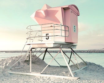 San Diego Photography, Pink and Mint Green, Lifeguard Tower, California Beach Art, Pastel Beach Decor, Vertical Print, Pink and Aqua Decor