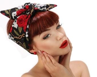50s Fifties Pin Up Rock Rockabilly skulls roses Tattoo print Black & Red Headscarf Bandana Headband