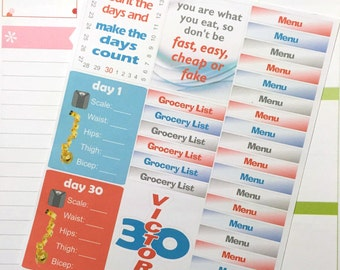 30 Day Whole Food Diet Planner Stickers