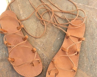 Tie up Greek sandals, Gladiator Sandals, Leather Sandals, Flat Sandals, Handmade, Women sandals, Lace up flats, Summer Sandals, Real Leather