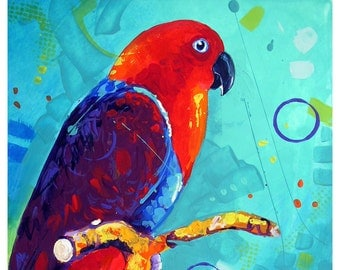 """SALE - Parrot - Original colorful traditional acrylic painting on paper 8.5""""x11"""""""
