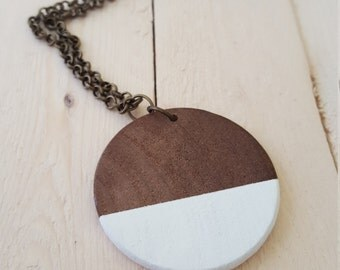 Modern Wood Pendant Necklace, Modern Geometric, Wood Jewelry, Minimalist Wood Pendant