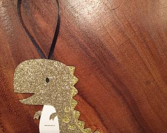 Golden Dinosaur Paper Ornament