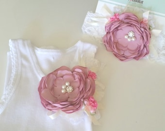 Embellished singlet, Shabby Chic, Burnt Satin Flower, Girls Singlet, Lace headband, flower singlet, baby girl singlet