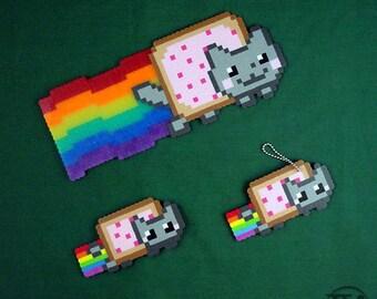 Pop-Tart Nyan Cat Perler Bead (sprite or keychain)