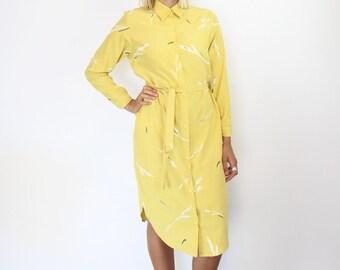 Yellow Silk Shirt Dress. Women's Hand Printed Midi Shirt Dress. Long Sleeved Silk Cocktail Melbourne Cup Racing Robe.