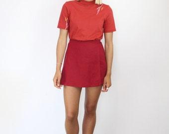High Waisted Linen Wrap Skirt. Women's Dark Red Mini Skirt. Asymmetrical Spring Summer Skirt.