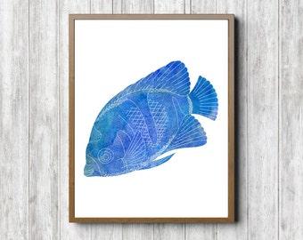 Watercolor Fish Wall Decor - Blue Fish Printable Office Wall Art - Blue Nursery /Boys Room Wall Poster- Marine Animal- Sea Themed Watercolor