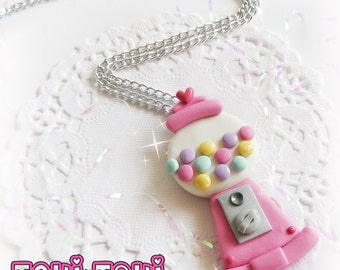 Gumball Machine Necklace, Kitschy Kawaii Necklace, Doll Necklace, 90's Necklace, Pink Bubblegum Necklace, Clay Charms, Miniature Toy Charms