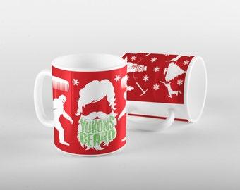 Funny Christmas Beard Mug, Ugly Christmas Sweater, Gift for Him, 15 oz Mug