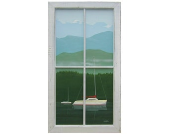 Original Painting, Sailboats  and Mountains, Unique Wood Frame