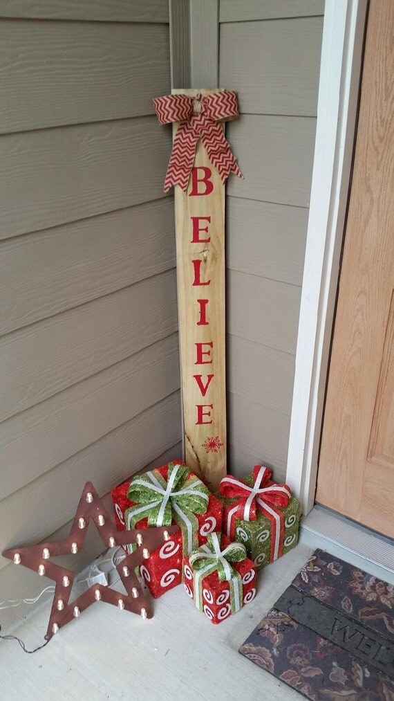 Items similar to believe wood sign fence post