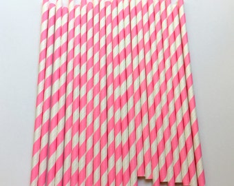 HOT PINK STRIPE Straws / Pink Straws / Striped Straws / Baby Shower / Gender Reveal / Party Straws / Paper Straws / First Birthday Straws