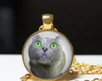 Green-eyed Cat pendant Kitty necklace Animal jewelry