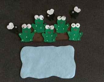 Felt Board Story // 5 Little Speckled Frogs  // Flannel Board Story Set // Preschool // Teacher Story // Counting //