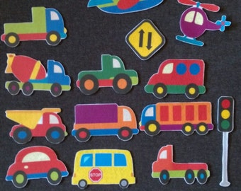Transportation Felt Board Set // Flannel Board // Imagination // Children // Preschool // Trucks // Cars //  Airplane // Road