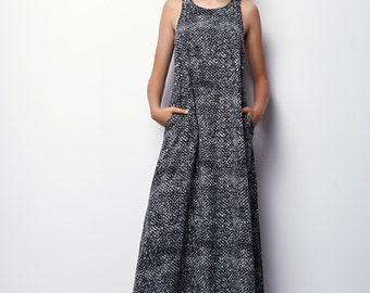 Black & White Maxi Dress, Summer Maxi Dress, Long Summer Dress SIZE XL - Aliz