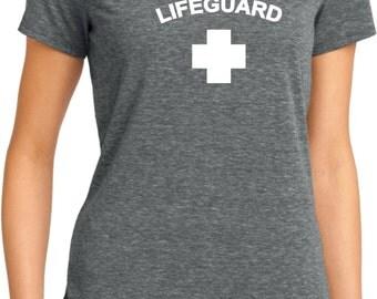 Lifeguard Ladies Lace Back Tee T-Shirt LIFEGUARD-DM441