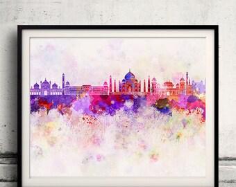 Agra skyline in watercolor background - Poster Digital Wall art Illustration Print Art Decorative - SKU 1394