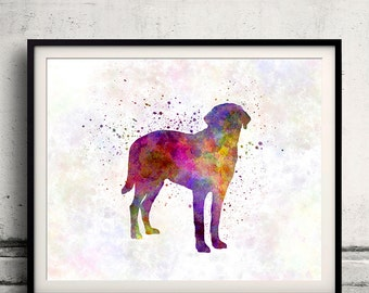 Broholmer 01 in watercolor - Fine Art Print Poster Decor Home Watercolor Illustration Dog - SKU 1443