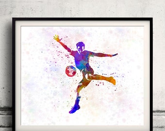 Man soccer football player 14 - poster watercolor wall art gift splatter sport soccer illustration print artistic - SKU 1458