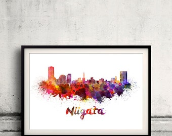 Niigata skyline in watercolor over white background with name of city - Poster Wall art Illustration Print - SKU 1563