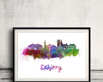 Esbjerg skyline in watercolor over white background with name of city - Poster Wall art Illustration Print - SKU 1607