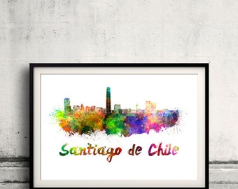 Santiago de Chile skyline in watercolor over white background with name of city - Poster Wall art Illustration Print - SKU 1618