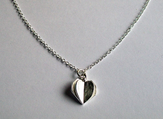 Origami Heart Necklace Silver Origami Jewellery Heart - photo#1