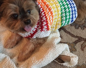Rainbow Dog Sweater, Crochet Dog Sweater, Crochet Dog Clothes, Dog Sweater, Rainbow Sweater, Crochet Sweater, Dog Style, Colorful Crochet