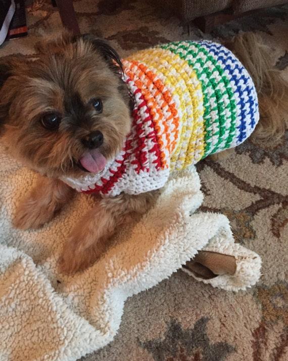 Rainbow Dog Sweater Crochet Dog Sweater Crochet Dog Clothes