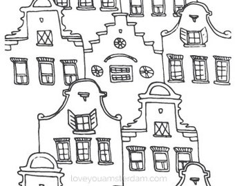 Amsterda houses print // Love You Amsterdam