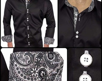 Black with Grey Paisley Men's Designer Dress Shirt - Made To Order in USA