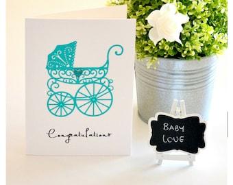 Baby or Pregnancy Congratulation Card, Gender Reveal Card, Pregnancy Reveal, Baby Card, Baby Gift, Greeting Card, Aqua, Vintage Style Pram