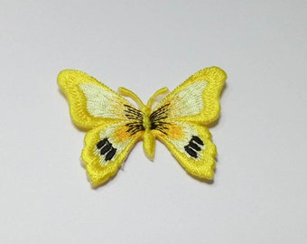 Yellow Butterfly Iron On Patch (S1) -  Butterfly Applique Embroidered Iron on Patch -Size 5.0 cm (W) x 3.3 cm (H)