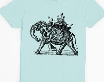 Elephant Shirt - Women's Tshirt - Graphic Tee for Women - East Indian Art - Vintage Illustration - unique - American Apparel