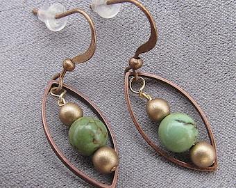 Green Turqouise Earrings//Dangles//32mm
