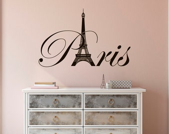 Paris Eiffel Tower Vinyl Wall Decal- Paris Theme Bedroom Decor- Paris Skyline Silhouette France Eiffel Tower Wall Art Girl Room Decor C077