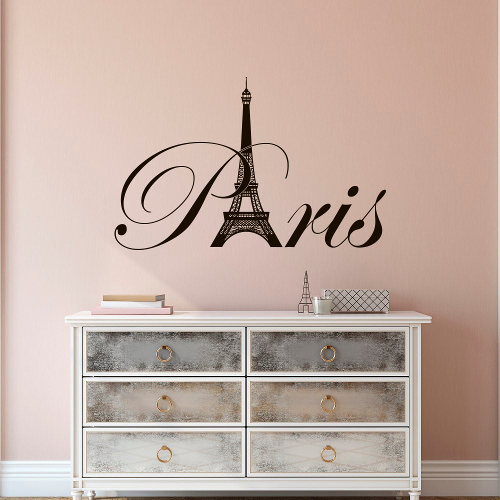Paris eiffel tower vinyl wall decal paris theme bedroom for Bedroom mural designs