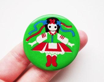 Vintage Soviet era tin pin pinback button medallion cordon badge token Ukrainian folk clothing folklore
