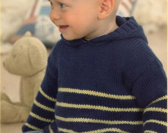 Baby Sweaters Knitting Pattern Hood and Envelope Neck - Birth to 6 years - DK