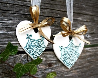 Ceramic christmas decor, Heart home ornaments, White and turquoise natural christmas ornaments, Snowflake decor, Christmas gift