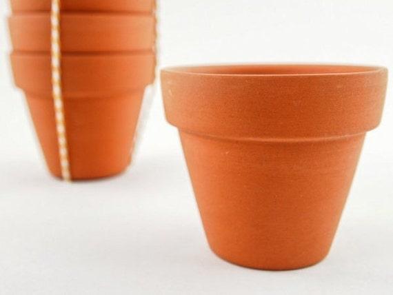 25 mini terracotta pots plain terracotta pots 6 cm small for Terracotta works pots