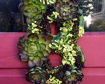 Custom Succulent Letter/Decortative Letter and Wreath