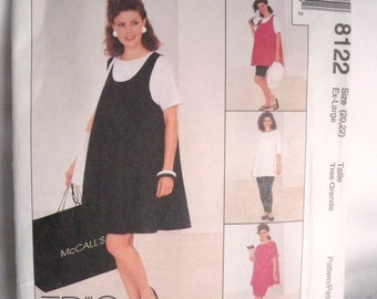 Sewing Pattern, 1996 McCall's 8122, Maternity Dress, Tank Top and Shorts, Top and Skirt