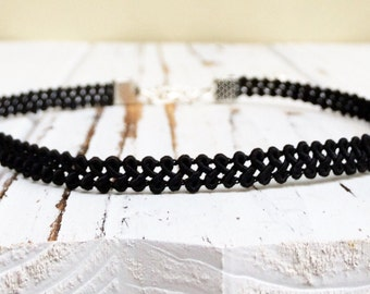 Thin black choker necklace, black simple choker, dainty choker, 90s tattoo choker, black lace choker
