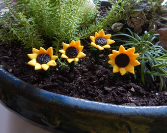 Set of 4: Handmade Fairy Garden Accessories, Yellow Sunflowers Made of Polymer Clay