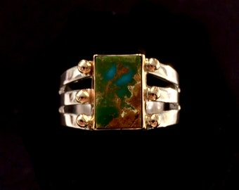 Royston Turquoise Ring Natural Gem High Grade Turquoise Cabochon Set in 14k Gold & Sterling Silver Size 7