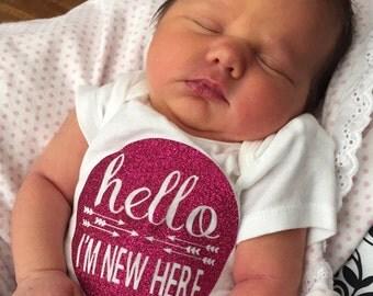Hello I'm New Here Onesie (Item #1008)