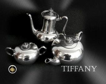 Tiffany sterling silver tea and coffee set - art deco design